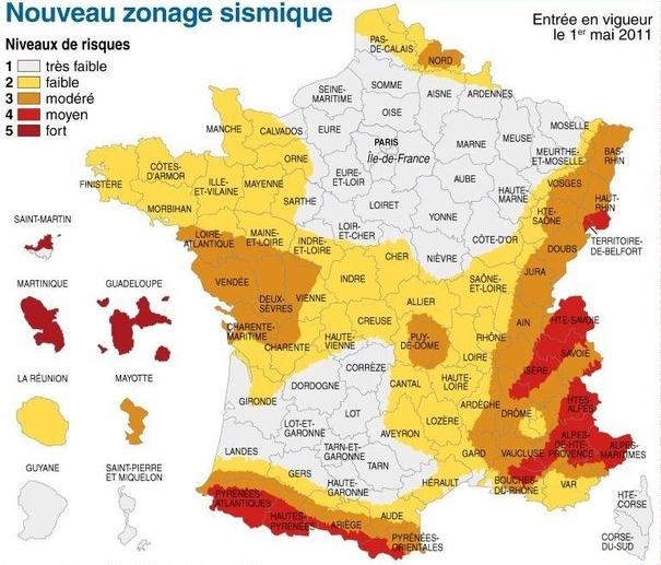 carte de france zone sismique