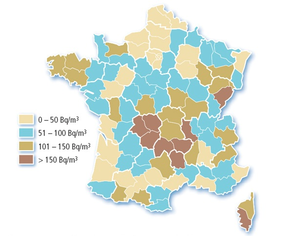 Carte concentration radon par département